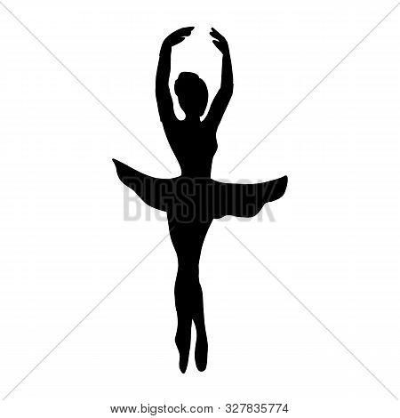 Ballerina Line Icon On White Background. Outline Ballerina Symbol Can Be Use Logo, Mobile, Web, App,
