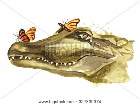 The Smiling Muzzle Or Head Of A Crocodile Or Alligator With Butterfly. Watercolor Hand Drawn Illustr