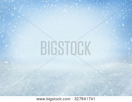 Winter Christmas Background With Falling Snowflakes On Blue Background. Background For Design With C