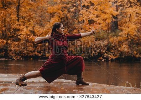 Beautiful Curvy Girl Doing Yoga In Nature On A Autumn Day. Body Positive, Sports For Women, Harmony,