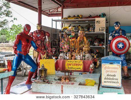 Bang Saen, Thailand - March 16, 2019: Wang Saensuk Buddhist Monastery. Spiderman And Other American
