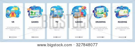 Mobile App Onboarding Screens. Hobby And Leisure Activities, Computer Games, Watching Tv, Reading Bo