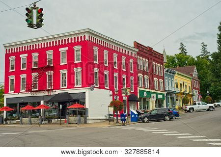 Cooperstown, Ny - September 8, 2018: Mels At 22 (the Bright Red Building), Occupying The Corner Of M
