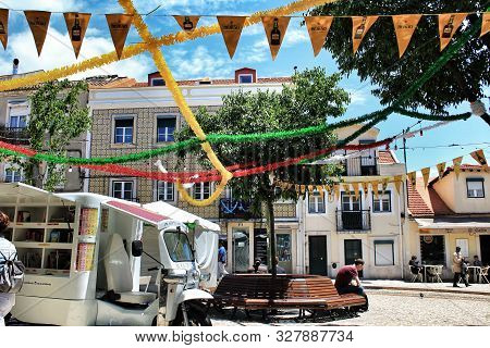 Lisbon, Portugal- June 7, 2018: Streets Adorned With Garlands For The Festivities Of Saint Anthony I