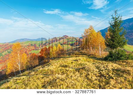 Calm Autumn Morning In The Mountains. Beautiful Countryside With Fields And Orchards On Hills. Tradi