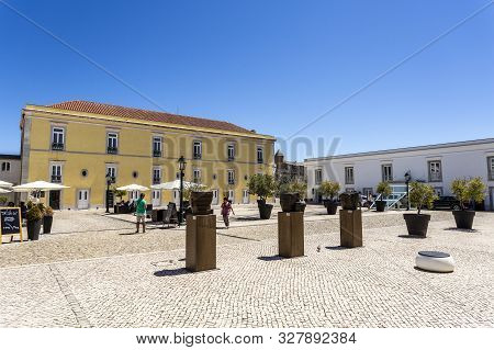 Cascais - August 14, 2019: Detail Of The Square Inside The Citadel With The Official Summer Residenc
