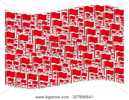 Waving Red Flag Collage. Vector Waving Flag Pictograms Are United Into Geometric Red Waving Flag Col