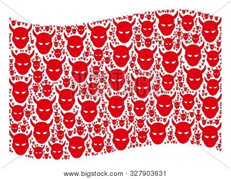 Waving Red Flag Collage. Vector Daemon Head Elements Are Organized Into Geometric Red Waving Flag Co