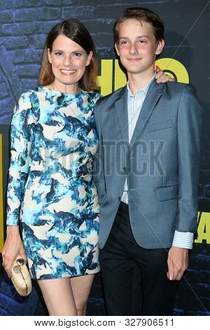 LOS ANGELES - OCT 14:  Suzanne Cryer, son Charlie at the HBO's Watchman Premiere Screening at the Cinerama Dome on October 14, 2019 in Los Angeles, CA