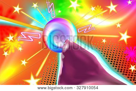 Sexy Abstract Background, Sweet Sexual Dreams Licking Lollipop Light. Glowing Futuristic Design Of L