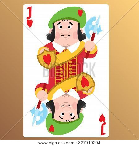 Jack Of Hearts. Playing Cards With Cartoon Cute Characters.