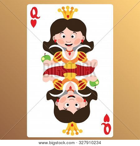 Queen Of Heart. Playing Cards With Cartoon Cute Characters.