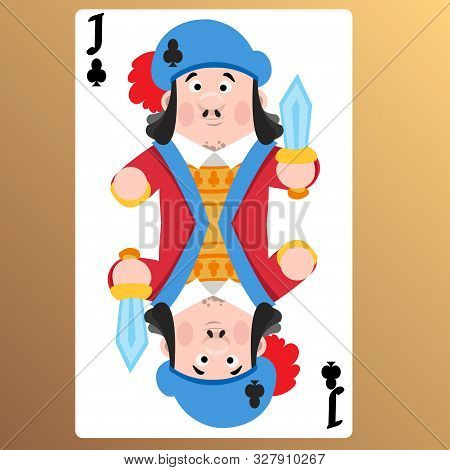 Jack Of Clubs. Playing Cards With Cartoon Cute Characters.