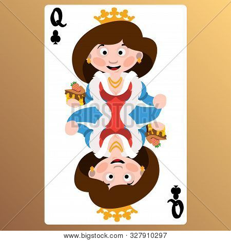 Queen Of Clubs. Playing Cards With Cartoon Cute Characters.