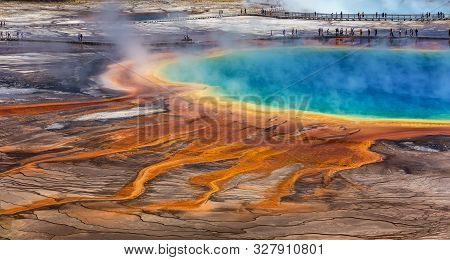 Midway Geyser Basin, Yellowstone National Park, Wyoming / Usa :august 27 2017: The Grand Prismatic S