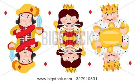 King, Prince, Queeen Diamonds. Playing Cards With Cartoon Cute Characters.