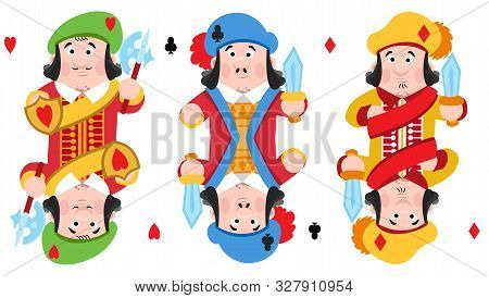 Jacks Of Three Suits: Hearts, Clubs And Diamonds. Playing Cards With Cartoon Cute Characters.
