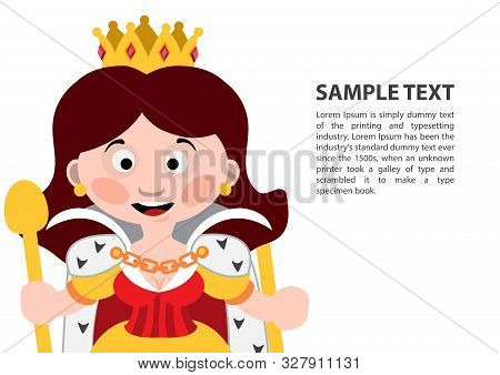 Queen Of Diamonds. Playing Cards With Cartoon Cute Characters. Background With A Zone For Text And A