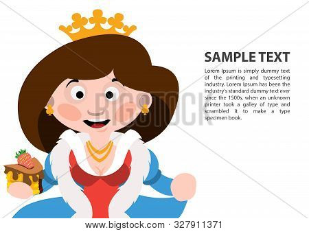 Queen Of Clubs. Playing Cards With Cartoon Cute Characters. Background With A Zone For Text And A Fu