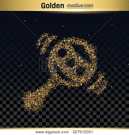 Gold Glitter Vector Icon Of Rattle Isolated On Background. Art Creative Concept Illustration For Web