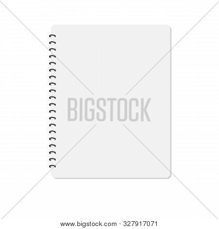 Notebook On White Background. Blank Realistic Spiral Notepad Notebook. Notebook Mockup. Spiral Noteb