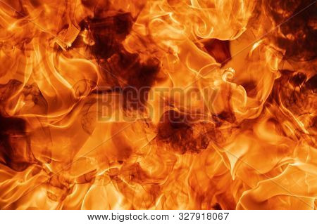 Abstract Red Fire Natural Texture With Flames. Beautiful Dangerous Firestorm Abstract Background. At