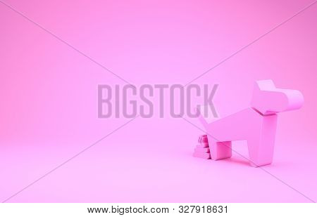 Pink Dog Pooping Icon Isolated On Pink Background. Dog Goes To The Toilet. Dog Defecates. The Concep