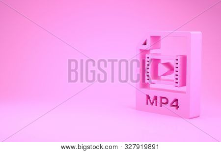 Pink Mp4 File Document. Download Mp4 Button Icon Isolated On Pink Background. Mp4 File Symbol. Minim