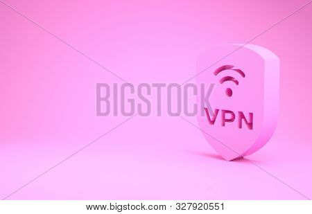 Pink Shield With Vpn And Wifi Wireless Internet Network Symbol Icon Isolated On Pink Background. Vpn