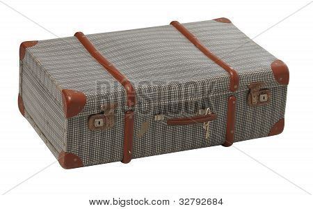 Old worn suitcase closed