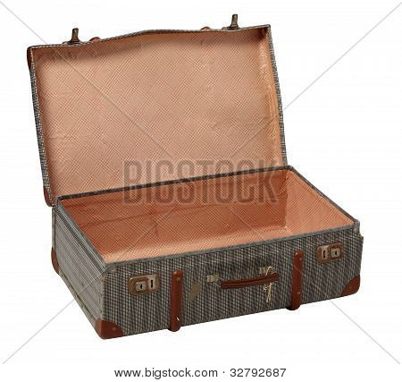 Old worn suitcase open