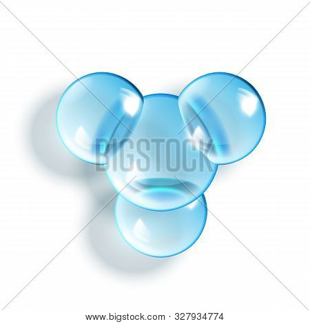 2so3 Chemical Glass Molecule Glossy Model Vector. Chemistry Scientific Molecule. Reflective And Refr