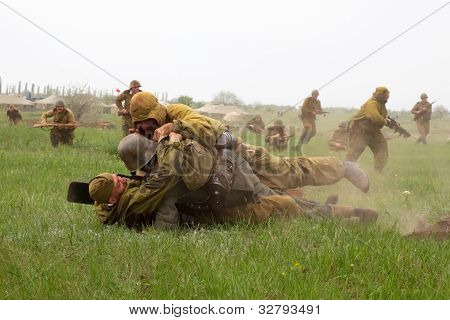 Odessa, Ukraine - May 6: Members Of The Military History Of The Club German And Russian Soldiers In