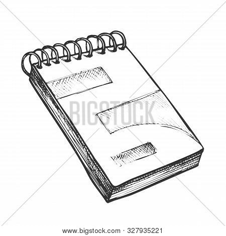 Notebook Stationery Planning Book Retro Vector. Copybook Or Notebook Planner For Writing. Diary For