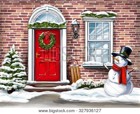Christmas Home Decoration, Christmas Wreath On The Door In Winter And Snowman, Christmas Greeting Ca