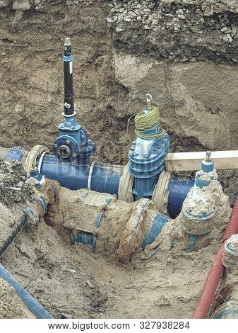 Valve And Hdpe Pipe Welded Underground. City Potable Water System. Man Water Supply Plastic Tubes, E