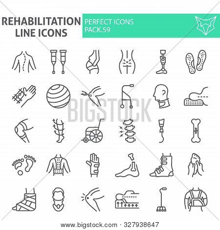 Rehabilitation Line Icon Set, Therapy Symbols Collection, Vector Sketches, Logo Illustrations, Physi