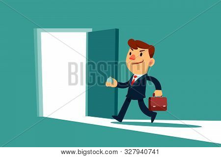 Businessman Opening And Enter A Door. Business Opportunity Concept.