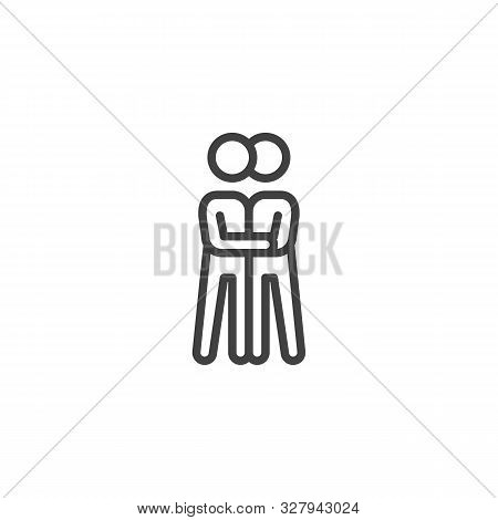 Two People Hugging Line Icon. Linear Style Sign For Mobile Concept And Web Design. Hugging Couple Ou