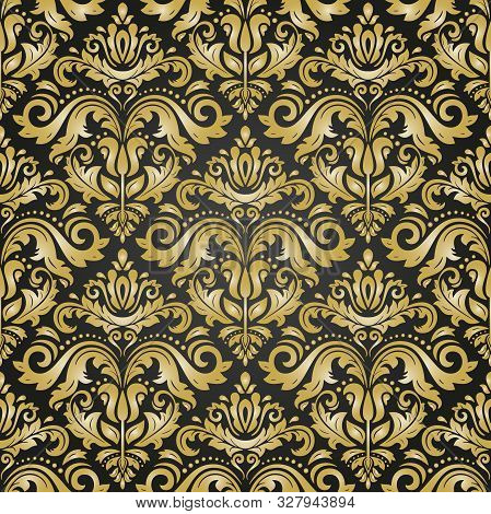 Orient Vector Classic Black And Golden Pattern. Seamless Abstract Background With Vintage Elements.