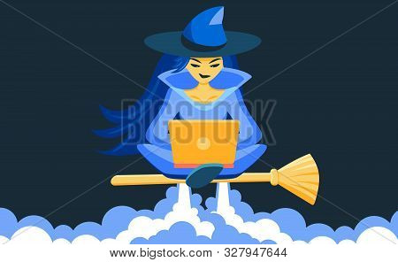 A Sorceress Sits In A Lotus Position On A Broomstick And Looks At A Laptop. The Witch Rockets And Le