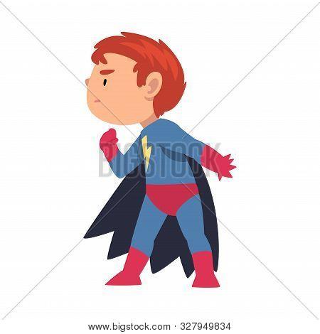 Boy In A Superhero Costume Sneaks Sideways Cartoon Vector Illustration