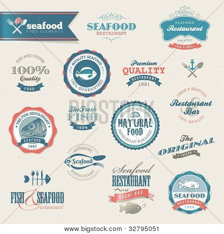 Seafood vector labels and elements for web and printed materials poster