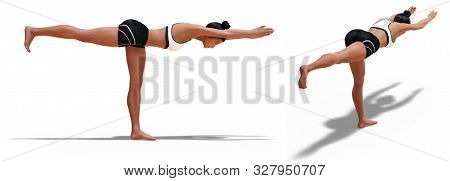 3d Illustration Of Back Three-quarters And Right Profile Poses Of A Woman In Yoga Warrior Three Pose