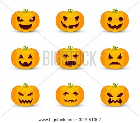 Pumpkin Faces Flat Vector Illustration Set. Halloween Symbol With Carved Facial Expressions. Smiling