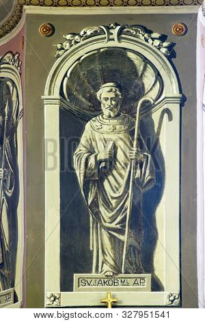 IVANIC GRAD, CROATIA - SEPTEMBER 25, 2011: Saint James the Less, fresco in the church of the Saint Peter in Ivanic Grad, Croatia