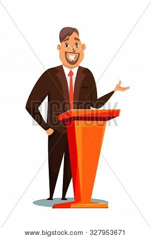 Tv Show Presenter Vector Illustration. Man Wearing Suit Flat Character. Tutor, Professor Lecture. Ca