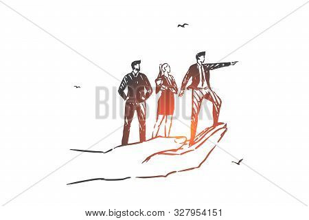 Business Vision, Teamwork, Leadership Concept Sketch. Company Executive Male Character Indicating Ac