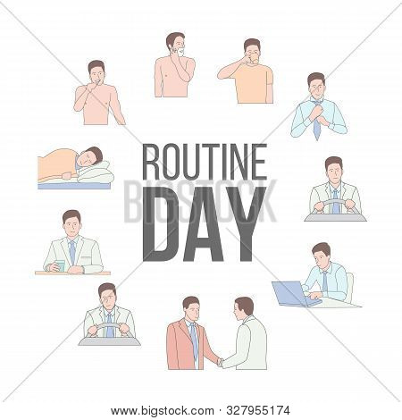Man Working Day Vector Characters Set. Daily Routines. Morning, Midday, Evening Activities. Commutin