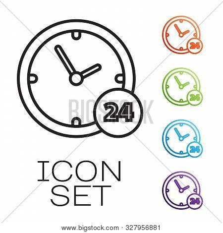 Black line Clock 24 hours icon isolated on white background. All day cyclic icon. 24 hours service symbol. Set icons colorful. Vector Illustration poster